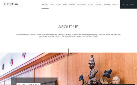 Screenshot of About Page glaziershall.co.uk - Conference Venue In London Since 1808 | Glaziers Hall - captured July 13, 2018