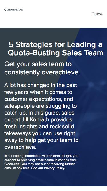 Learn 5 strategies of leading a quota busting sales team and close more deals | ClearSlide