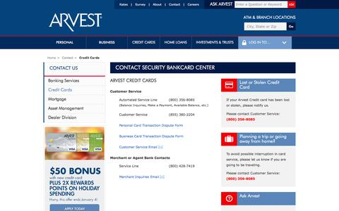 Screenshot of Support Page arvest.com - Contact Security Bankcard Center - captured Nov. 25, 2015