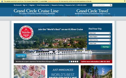 Screenshot of Home Page gct.com - River Cruises, Small Ship Cruises, & Land Tours | Grand Circle Travel & Grand Circle Cruise Line - captured Oct. 22, 2015