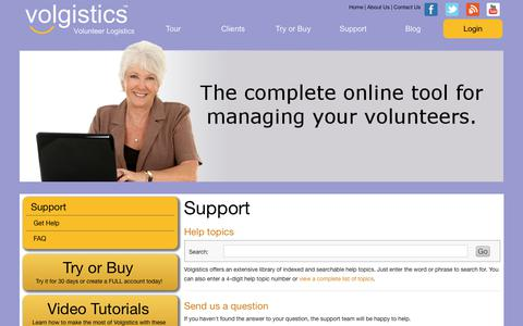 Screenshot of Support Page volgistics.com - Customer Support | Volgistics - captured July 8, 2017