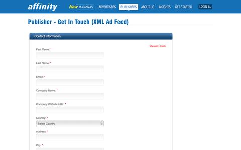 Screenshot of Trial Page affinity.com - Sign up for High-Performance XML Monetization | Affinity - captured Nov. 12, 2019