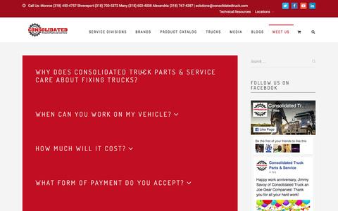 Screenshot of FAQ Page consolidatedtruck.com - FAQ - Consolidated Truck Parts & Service - captured Oct. 8, 2016