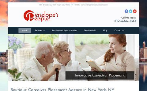 Screenshot of Home Page penelopespeople.com - Caregiver - New York, NY - Penelope's People™ - captured Dec. 7, 2018