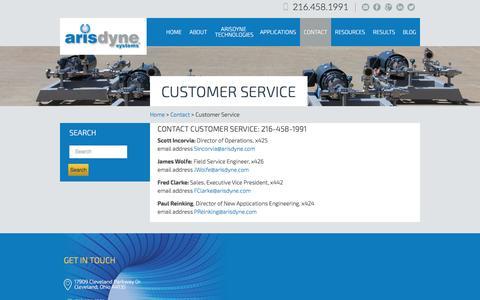 Screenshot of Support Page arisdyne.com - Customer Service | Arisdyne - captured Feb. 6, 2016