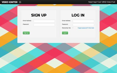 Screenshot of Signup Page videoigniter.com - Video Igniter - Sign up | Log in - captured June 13, 2017