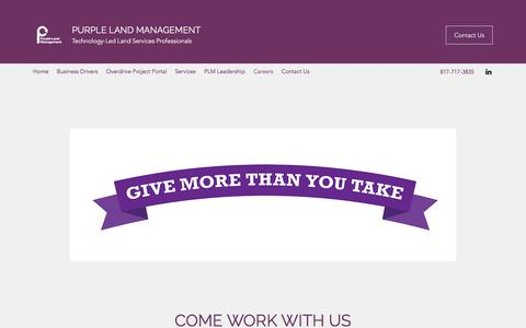 Screenshot of About Page purplelandmgmt.com - Careers | Purple Land Management - captured Nov. 1, 2019
