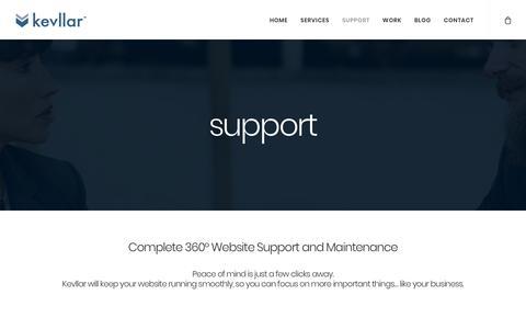 Screenshot of Support Page kevllar.com - Support – Kevllar - captured Sept. 20, 2018