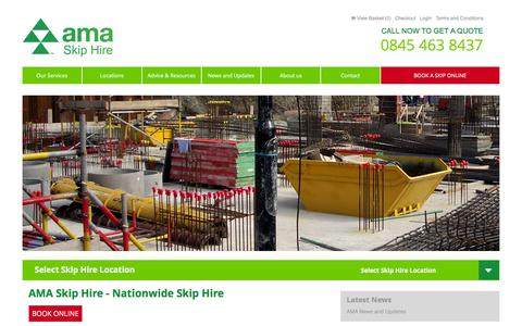 Screenshot of Home Page amaskiphire.co.uk - Skip Hire - National Domestic and Commercial Hire - captured Feb. 4, 2016