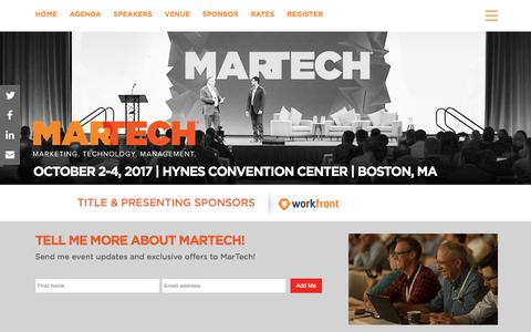 MarTech Boston | The Marketing Technology Conference October 2-4, 2017 - MarTech