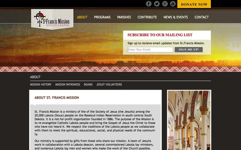Screenshot of About Page sfmission.org - St. Francis Mission | About - captured Oct. 7, 2014