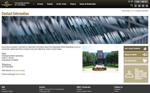 Screenshot of Contact Page indianapolismotorspeedway.com - Contact Information - captured Nov. 2, 2014