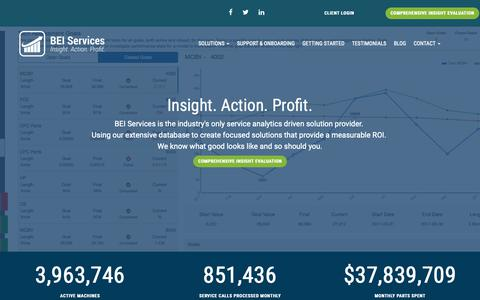 Screenshot of Home Page beiservices.com - BEI Services • Business Intelligence and Profit Management | Office Printing Industry - captured Oct. 4, 2018