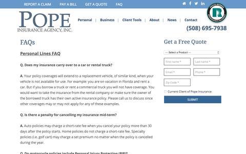 Screenshot of FAQ Page popeins.com - FAQs - Pope Insurance Agency, Inc. - captured Sept. 28, 2018