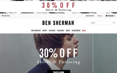 Screenshot of Home Page bensherman.com - Ben Sherman Menswear | The Official Ben Sherman Online Shop - captured Dec. 7, 2015