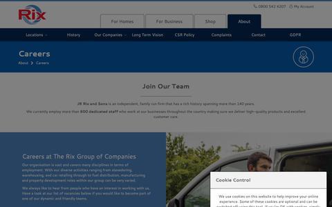 Screenshot of Jobs Page rix.co.uk - Careers | Rix Petroleum - captured Sept. 28, 2018