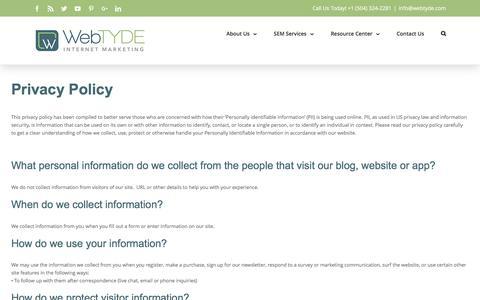 Screenshot of Privacy Page webtyde.com - Privacy Policy - Webtyde Internet Marketing - captured Nov. 29, 2016
