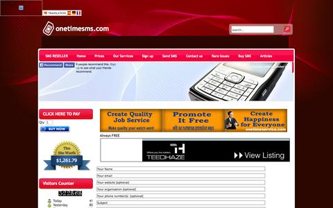 Screenshot of About Page onetimesms.com - Contact Us - captured Oct. 30, 2014