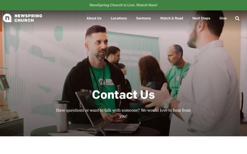 Screenshot of Contact Page newspring.cc - Contact | NewSpring Church - captured May 14, 2018