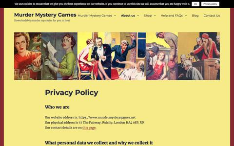 Screenshot of Privacy Page murdermysterygames.net - Privacy Policy - Murder Mystery Games - captured July 14, 2018