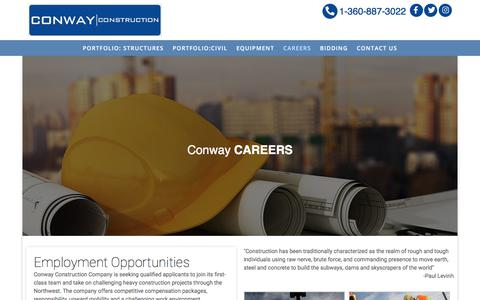 Screenshot of Jobs Page conwayconstruction.net - Careers – Conway Construction - captured Feb. 21, 2020
