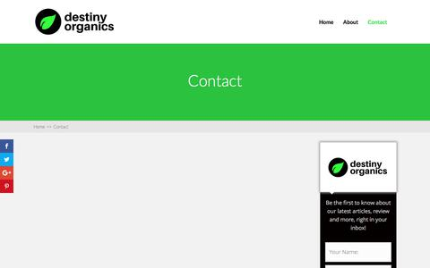 Screenshot of Contact Page destiny-organics.com - Contact | Destiny Organics - captured June 4, 2017