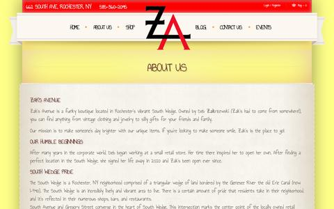 Screenshot of About Page zaksavenue.com - About Us  |  				Zak's Avenue | Your One Stop Shop for Unique Gifts and Eclectic Urban Shopping - captured Jan. 10, 2016
