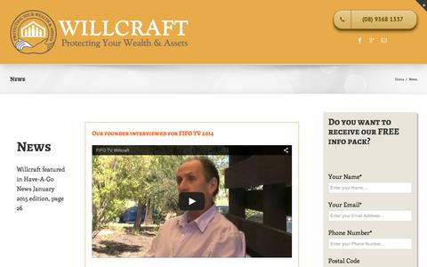 Screenshot of Press Page willcraft.com.au - News - Willcraft - captured Feb. 28, 2016