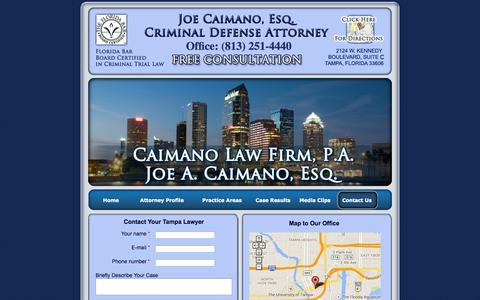 Screenshot of Contact Page Maps & Directions Page yourtampalawyer.com - Contact Us | Tampa FL Defense Attorney | Caimano Law Firm P.A. - captured Oct. 22, 2014