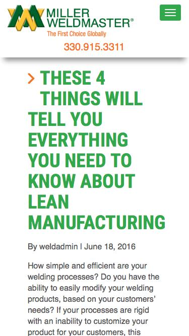 Screenshot of Blog  weldmaster.com - What is Lean Manufacturing and What You Should Know About It