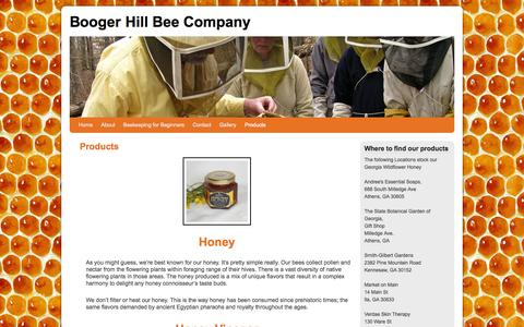 Screenshot of Products Page boogerhillbee.com - Products | Booger Hill Bee Company - captured Oct. 5, 2014
