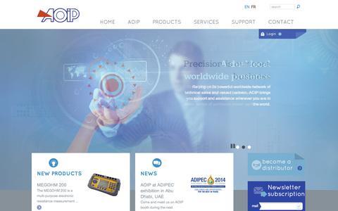 Screenshot of Home Page Menu Page aoip.com - AOIP, Instrumentation de test et mesure, contrôle moteur - captured Oct. 4, 2014