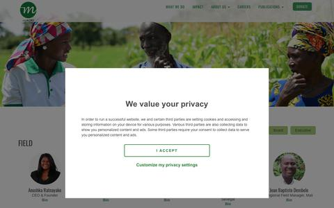 Screenshot of Team Page myagro.org - Our Team - myAgro - captured Sept. 20, 2018