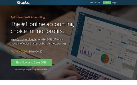 Screenshot of Pricing Page aplos.com - #1 Nonprofit Accounting Software | Aplos - captured Dec. 5, 2016