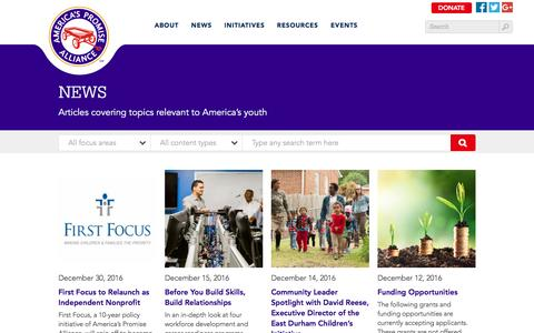 Screenshot of Press Page americaspromise.org - News   America's Promise Alliance - captured Jan. 7, 2017