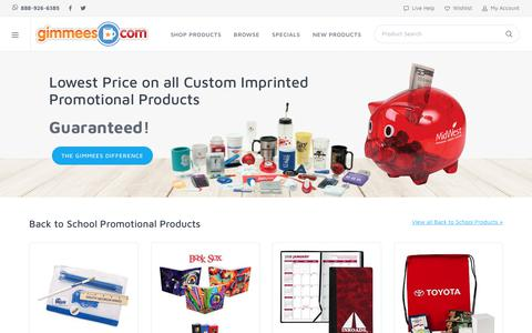 Screenshot of Home Page gimmees.com - Promotional Products, Custom Imprinted Items With Your Logo| Gimmees.com - captured Sept. 28, 2018