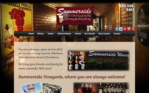Screenshot of Home Page summersidevineyards.com - Summerside Vineyards | Oklahoma Wineries | Vineyard Wines and Meadery - captured Oct. 6, 2014