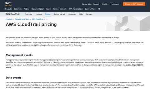 Screenshot of Pricing Page amazon.com - AWS CloudTrail pricing - captured May 8, 2019