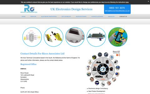 Screenshot of Contact Page riccooutsourcing.co.uk - Contact Electronics Production Outsourcing   Ricco Associates Ltd - captured Sept. 21, 2018
