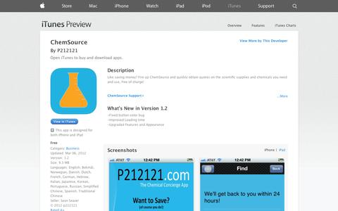 Screenshot of iOS App Page apple.com - ChemSource on the App Store on iTunes - captured Oct. 22, 2014