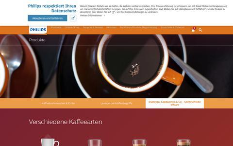 Screenshot of FAQ Page philips.de - Espresso, Cappuccino & Co – Unterschiede erklärt   Philips - captured June 11, 2018