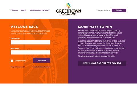 Screenshot of Login Page greektowncasino.com - Members Login   Greektown Casino - captured Oct. 3, 2014
