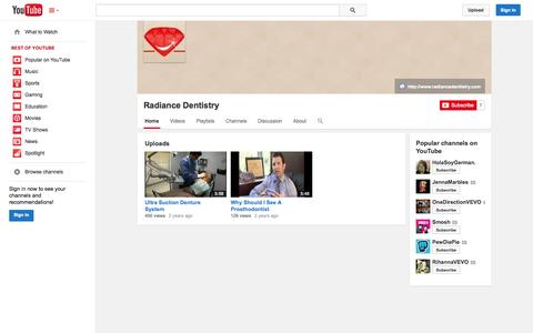 Screenshot of YouTube Page youtube.com - Radiance Dentistry  - YouTube - captured Oct. 22, 2014