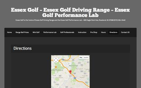 Screenshot of Maps & Directions Page essexgolf.net - Directions | Essex Golf - Essex Golf Driving Range - Essex Golf Performance Lab - captured Sept. 26, 2014