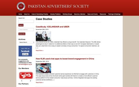 Screenshot of Case Studies Page pas.org.pk - Pakistan Advertisers Society|Archive|Case Studies - captured July 12, 2017