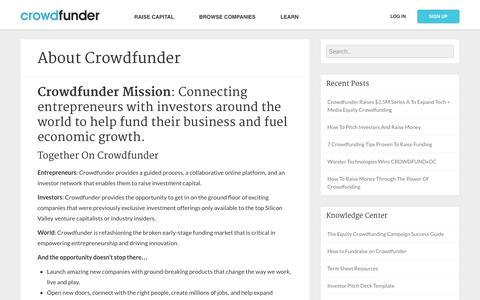 Screenshot of About Page crowdfunder.com - Crowdfunder Blog  –  About Crowdfunder - captured Oct. 10, 2014