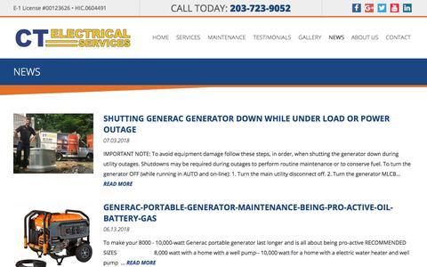 Screenshot of Press Page ctelectrical.com - News | 20 Kw Generac Generator CT | Generator For Home CT | Generac Generator Service CT | Generac Certified CT | CTElectrical.com - captured Sept. 26, 2018