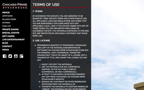 Screenshot of Terms Page chicagoprimesteakhouse.com - Terms of Use - Chicago Prime Steakhouse - captured Oct. 28, 2014