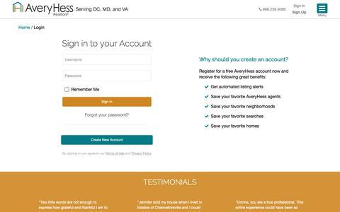 Screenshot of Login Page averyhess.com - AveryHess, Realtors | Login - captured Nov. 10, 2018