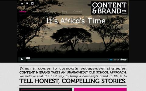 Screenshot of Home Page contentandbrand.com - Content and Brand Co. - captured Oct. 3, 2014